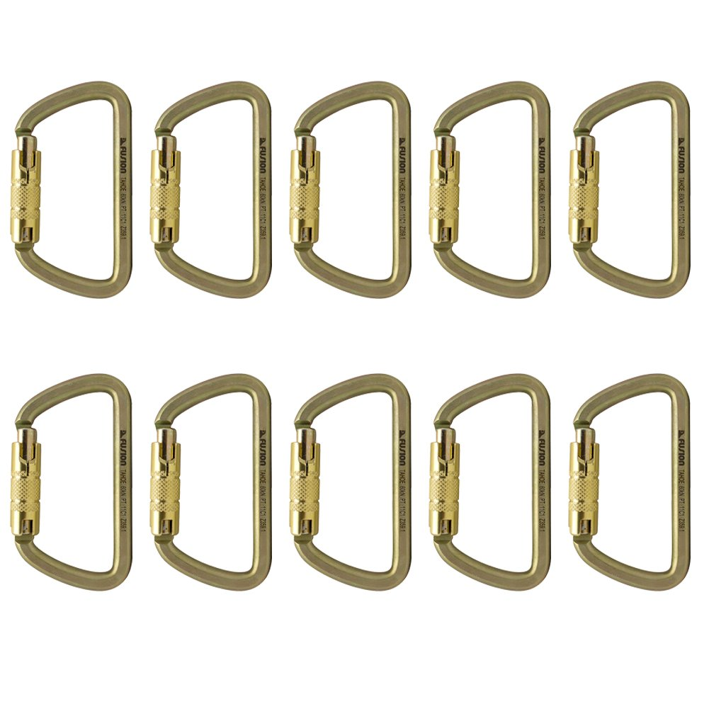 Fusion Climb Tahoe Steel Screw Lock Key Nose D Carabiner 10-Pack