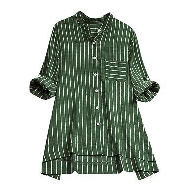 Fainosmny Womens Tops Loose Shirts Buttons Jumper Dress Plus Size ...