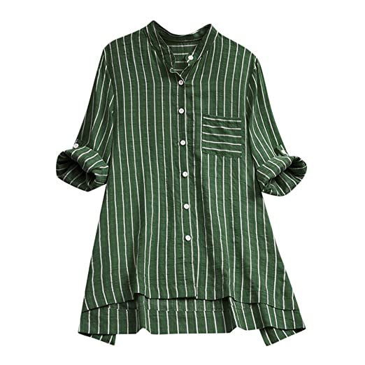 cd2143936 TUSANG Womens Tops Casual Plus Size Loose Linen Sleeve Print Button Shirt  Blouse Loose Fit Comfy