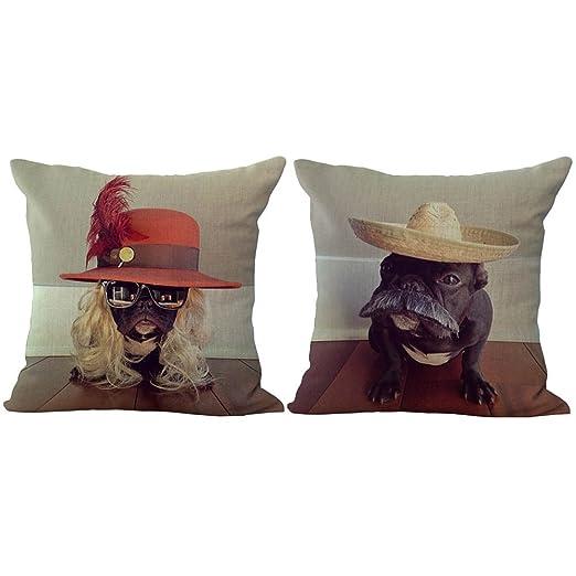 Rita Home Decor Funda de almohada de lino y algodón con ...