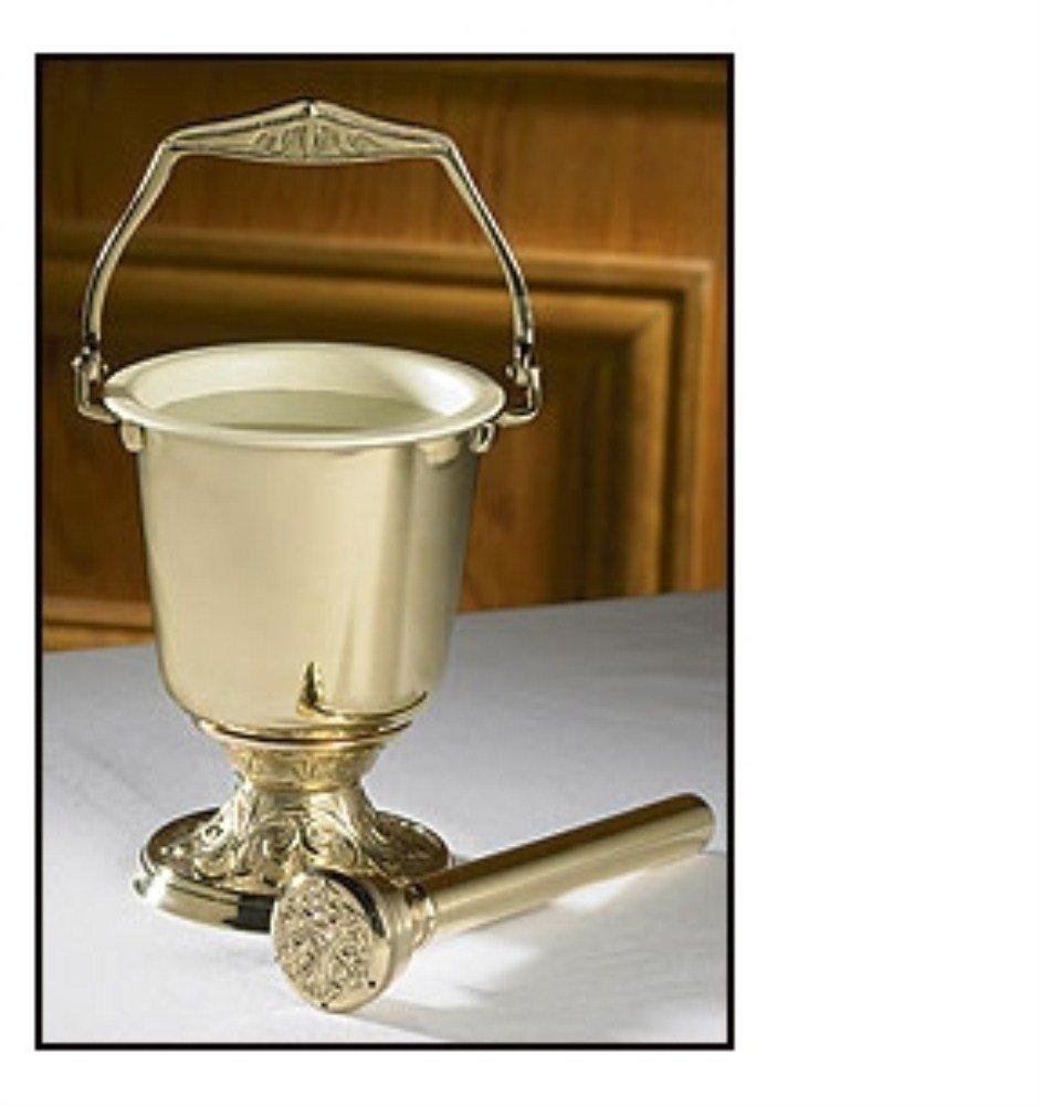 Embossed Holy Water Pot Sprinkler Brass Pot 10'' H x 4 3/4'' Dia Top, Sprinkler 8'' L