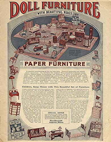 (Paper Doll Furniture with Beautiful Rugs Needlecraft Magazine offer ad 1921)