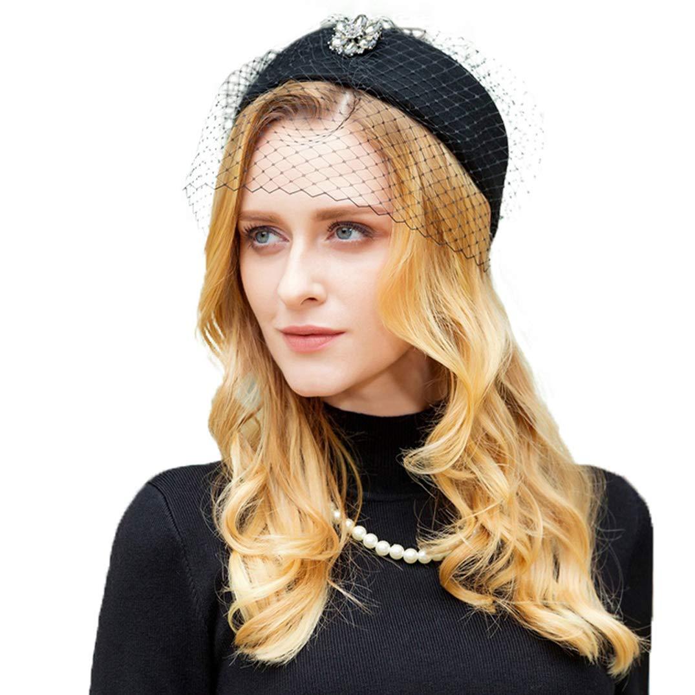 British Black Wool Pillbox Hat for Women Wedding Fascinator Hats Vintage Ladies Derby Formal Felt Cap