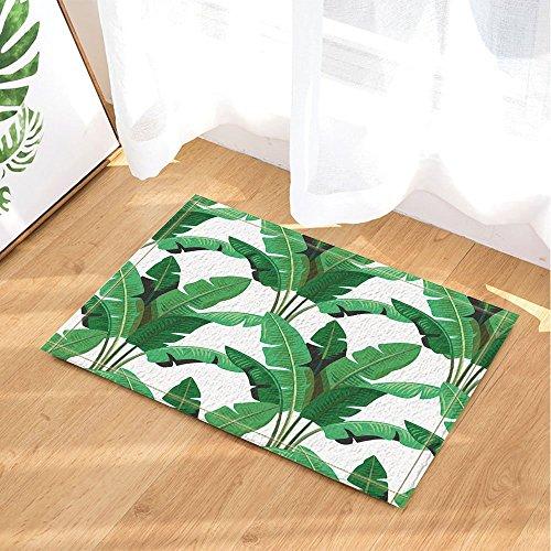 Dimensions Runner Rug - GoHeBe Wallpaper Decor Tropical Leaves Palm Bath Rugs Non-Slip Floor Entryways Outdoor Indoor Front Door Mat 15.7x23.6in Bath Mat Bathroom Rugs