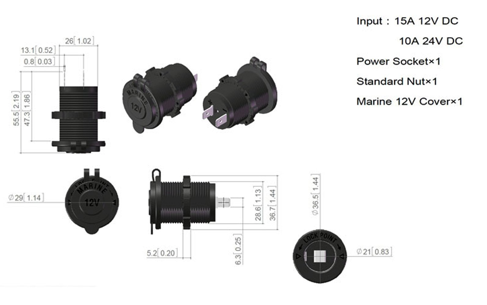 Marine Car Boat Power Socket Power Outlet Socket DC 12V Accessory For Car Boat by zowaysoon (Image #4)