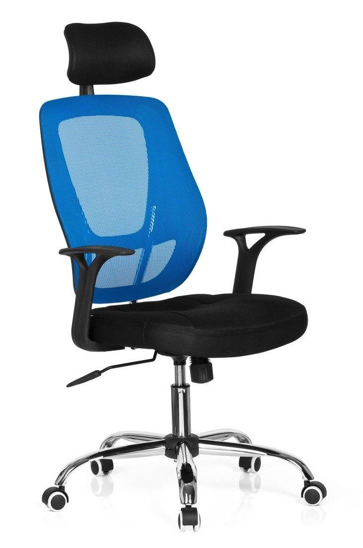 Hjh OFFICE 719450 Büro- Dreh Stuhl, Avido net I Stoff, schwarz blau