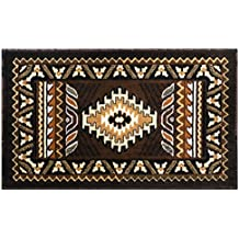 South West Native American Mat Area Rug Design Kingdom 143 Chocolate (24 Inch X 40 Inch) Mat
