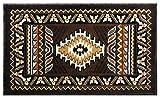 South West Native American Mat Area Rug Design Kingdom 143 Chocolate (24 Inch X 40 Inch) Mat