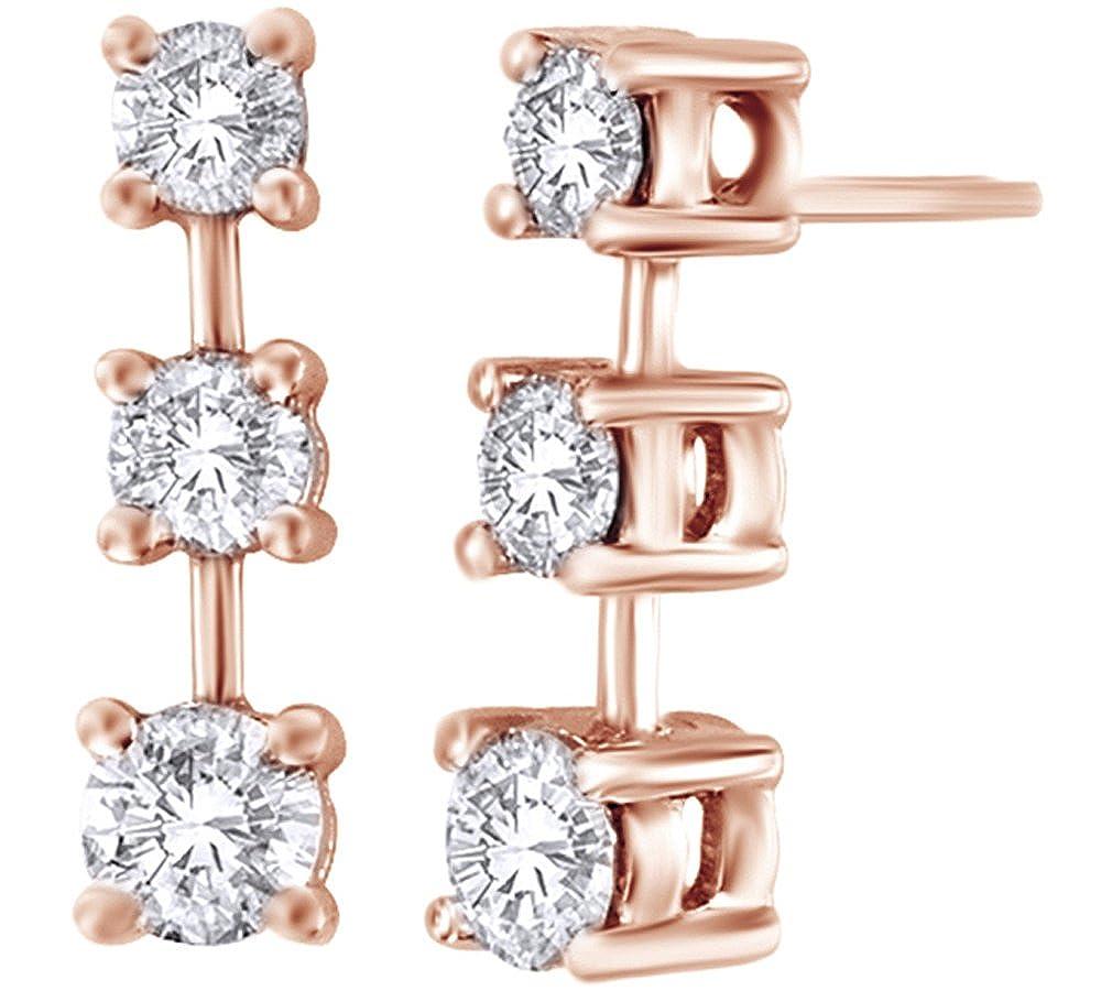 Weißszlig; natürlicher Diamant Linear Drei Stein Ohrringe in Tropfenform 14 ct 585 Weißszlig; Gold massiv (0,87 Karat) 14 Karat RotGold