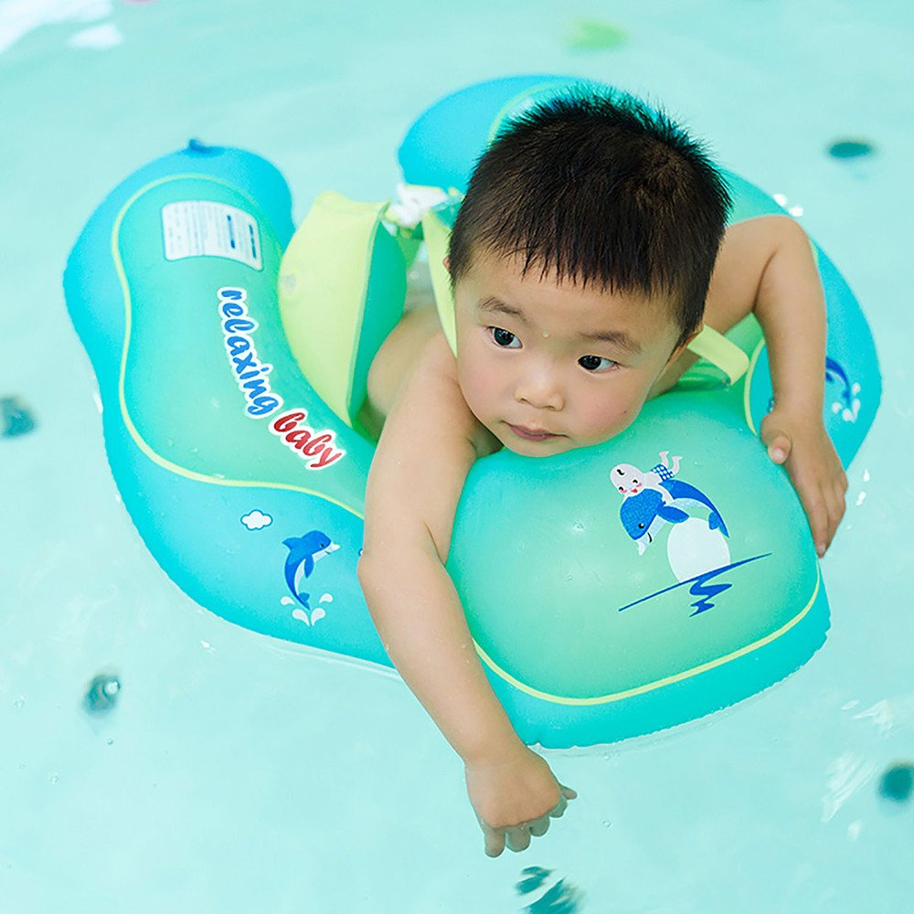 Aobiny Baby Swimming Ring, Relaxing Baby Baby Swimming Ring Adjustable Baby Swimming Oxter Rings (Mint Green, XL)