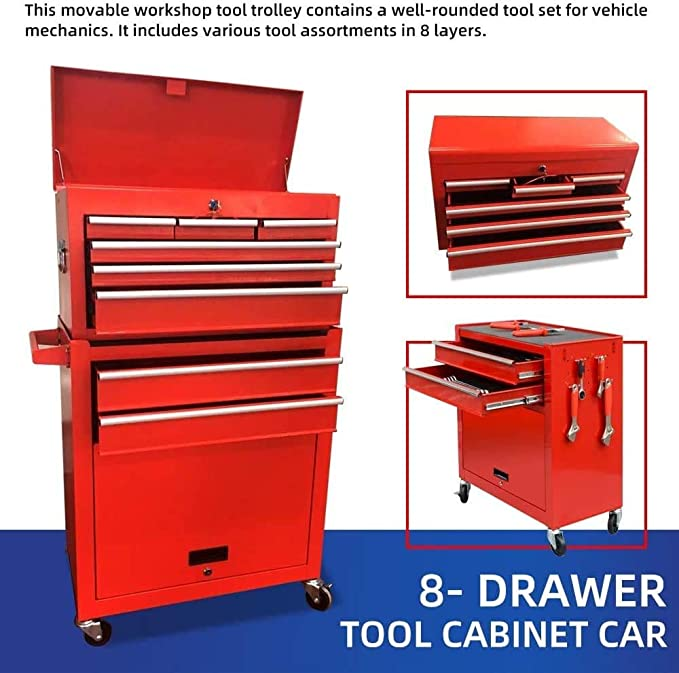 2pcs Tool Storage Box Portable Top Chest Rolling Tool Box Organizer Sliding Drawers Cabinet Keyed Locking System Toolbox Red Amazon Com
