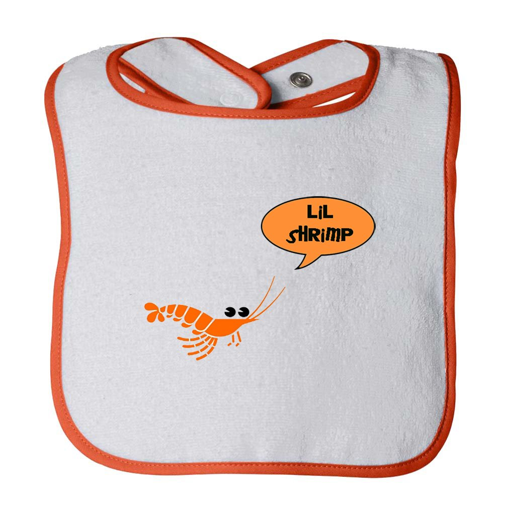 Green Shrimp Saying Lil Shrimp Infant Contrast Trim Terry Bib BIBTFOOD0029_W