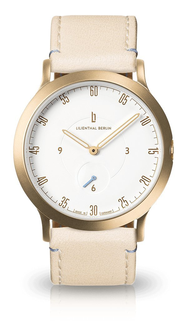 Lilienthal Berlin Watch - Made in Germany - Designed in Berlin. Model L1 with Stainless Steel Case (Size: 37.5 mm, Case: gold / Dial: white / Strap: creme)
