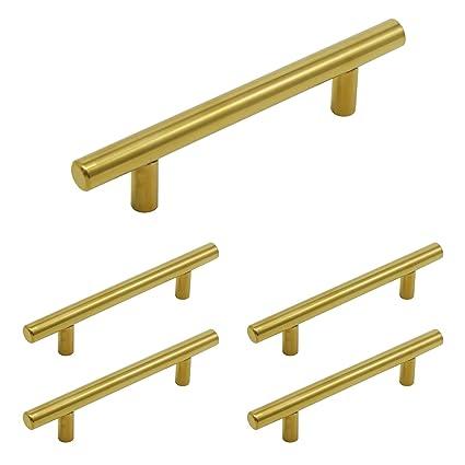 Cabinet Pulls Handles 5Pack Brushed Brass Kitchen Cabinet Hardware Handle  Pull 3-3/4\