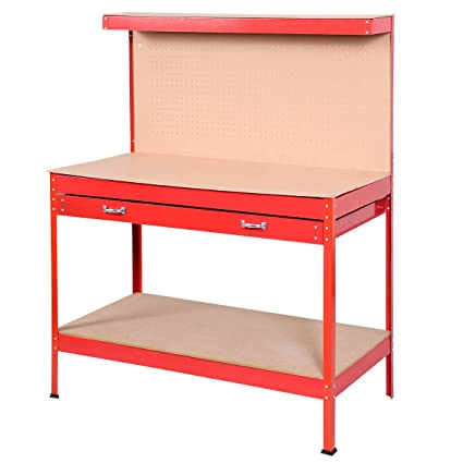 Wondrous Goplus Steel Workbench Tool Storage Work Bench Workshop Tools Table W Drawer And Peg Board Beatyapartments Chair Design Images Beatyapartmentscom