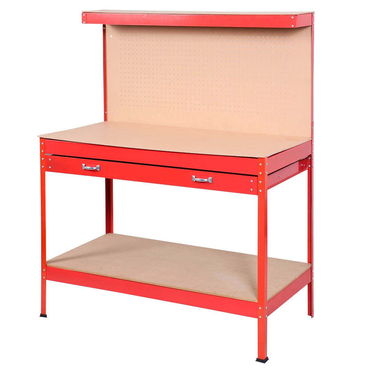Goplus Steel Workbench Tool Storage Work Bench Workshop Tools Table W/ Drawer and Peg Board,Red