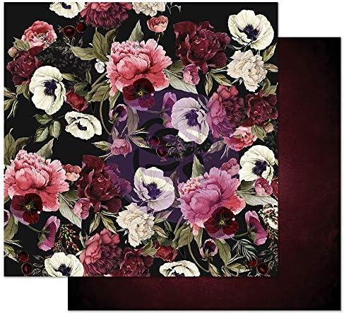 12//Pkg Prima Marketing 637873 Midnight Garden Pearlescent Paper Flowers-in The Dark