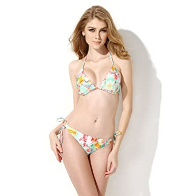 518b66cbcf Colloyes Women s Halter Top Bikini Padded Bandage Swimsuit Ladies Swimwear   Amazon.co.uk  Clothing
