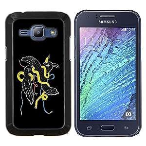 KLONGSHOP // Cubierta de piel con cierre a presión Shell trasero duro de goma Protección Caso - Resumen Weird Pájaro Serpiente - Samsung Galaxy J1 J100 //