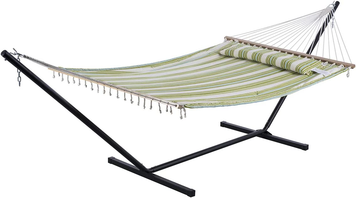 SUNCREAT 2 Person Double Hammock with 12 Foot Steel Stand, Includes Quilted Fabric Bed and Pillow, Green Beige