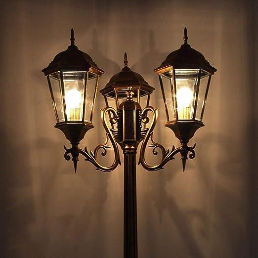BTBAM 3-luces de la calle Patio Alto poste de la lámpara al aire libre impermeable