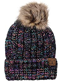 Thick Cable Knit Faux Fuzzy Fur Pom Fleece Lined Skull Cap Cuff Beanie 449fae1b3b8e