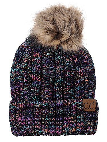 C.C Thick Cable Knit Faux Fuzzy Fur Pom Fleece Lined Skull Cap Cuff Beanie, ()