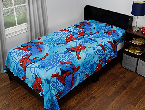 2pc Marvel Spider-Man Twin Flat and Fitted Sheets Blue Web S