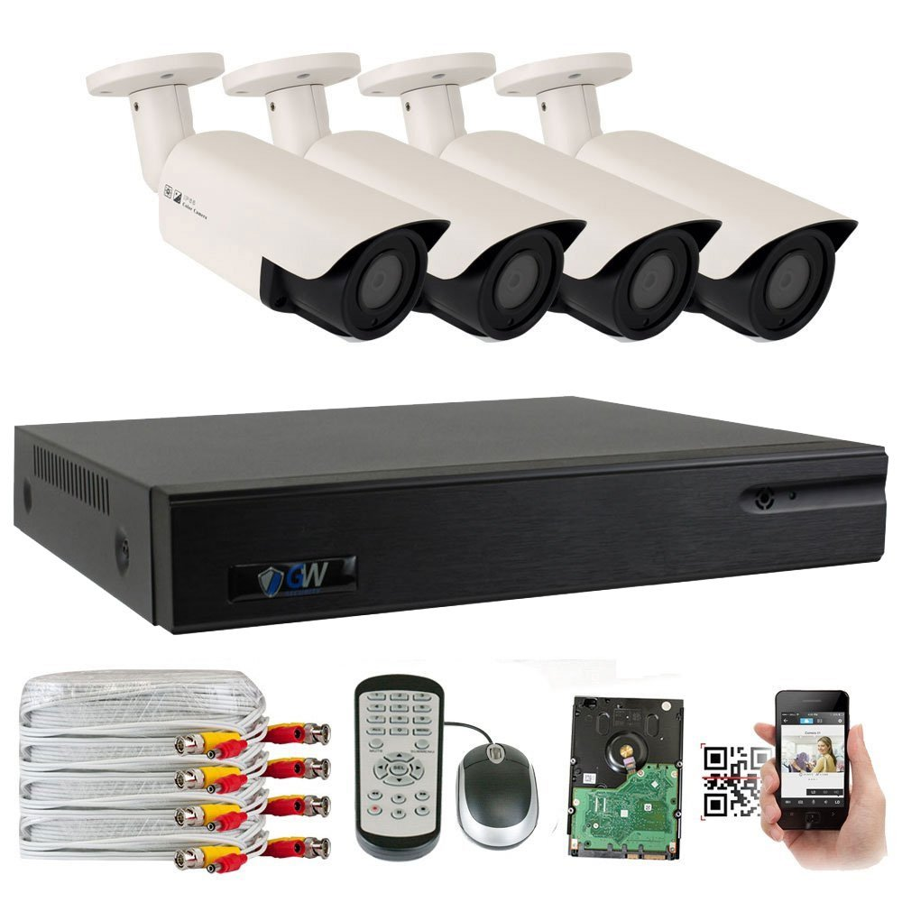 GW Security 2.1 MegaPixel HD 1080P Color Night Vision Security Camera System with 4 Channel DVR and 4 x 1080P Starlight Outdoor Indoor Bullet Cameras, Quick QR Code Remote Access