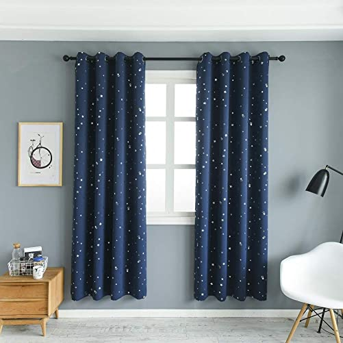 MANGATA CASA Blackout Curtains with Night Sky Twinkle Star 2 Panels for Kids Room,Thermal Insulated Grommet Bedroom Drapes Navy,52x96in