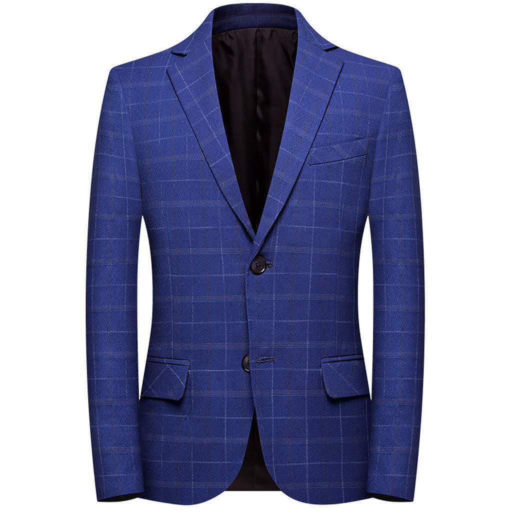 Men's Casual Blazer Slim Fit Plaid Lightweight One Button Business Stripe Suit Jacket Sport Coat with Pocket M-4XL by VEZARON