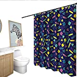 Funky Hotel Style Shower Curtain Retro 80`s Memphis Fashion Style Vibrant Triangles Squares