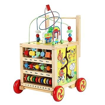 Nuheby Lauflernwagen Holz Lauflernhilfe Laufwagen f/ür Babys ab 1 2 3 Jahre 8 in 1 Laufwagen Holzspielzeug mit Hebendes Design Babyspielzeug P/ädagogisches M/ädchen Junge