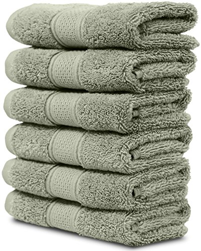 6 Piece Washcloth Set. 2017(New Collection). Premium Quality Turkish Towels. Super Soft, Plush and Highly Absorbent. Set Includes 6 Pieces of Washcloths. By Maura. (Washcloth - Set of 6, Sage Green) by Maura