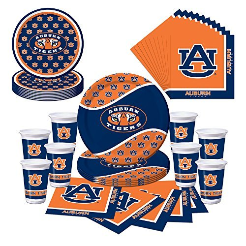 Auburn University Tigers Party Supplies Themed Plates, Cups and Napkins Serves 8 - University Tigers Auburn