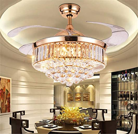 42 Inch Luxury Crystal Retractable Ceiling Fan
