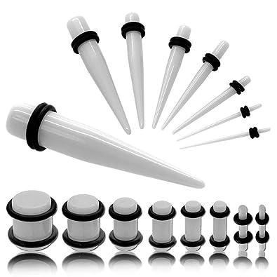 1 Set Expansor Túnel para Oreja Tunnel Plug Piercing con anillos de goma y 1 Set Dilatador Taper 1,6-10 mm Blanco: Amazon.es: Joyería
