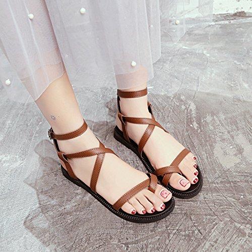 Sandalias Antideslizante Playa Damas Casual Verano de Calzado YMFIE Moda brown de Rgw6I4