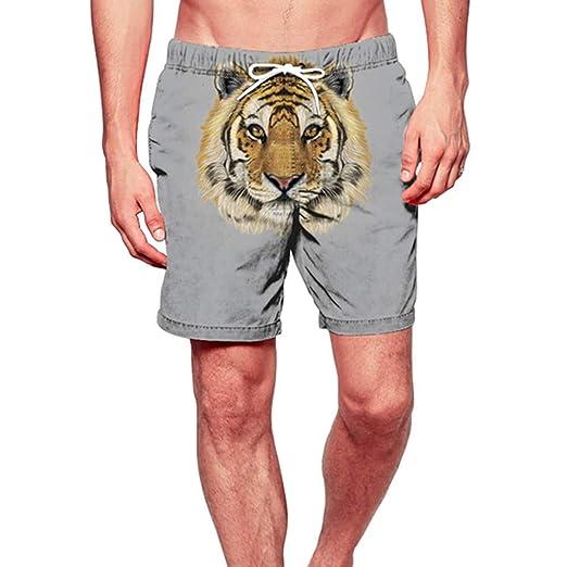 c60fefa6b7 Cuekondy Mens Summer Casual Shorts Swim Trunks 2019 Fashion 3D Tiger Printed  Quick Dry Surfing Sports