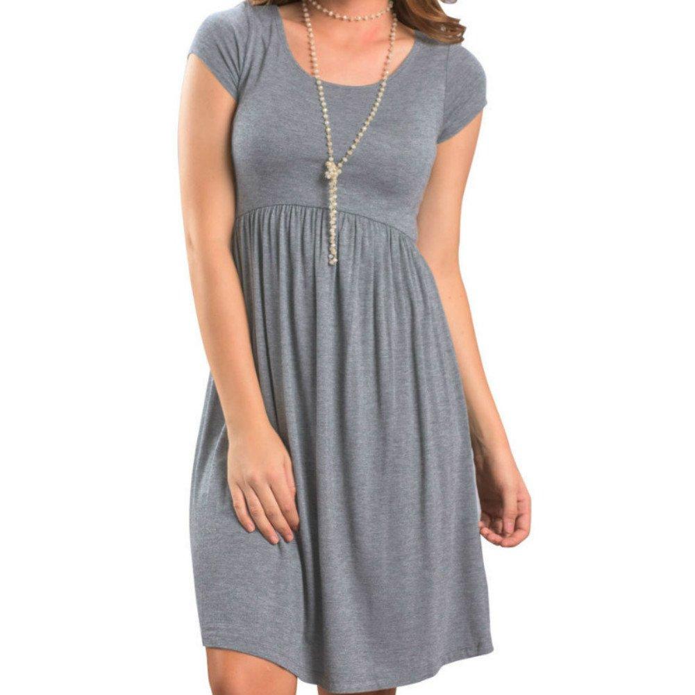 PRIMODA Women's Long Sleeve Pleated Polka Dot Pocket Midi Dress Short Sleeve Empire Waist Casual Swing T Shirt Dress(GreyS)