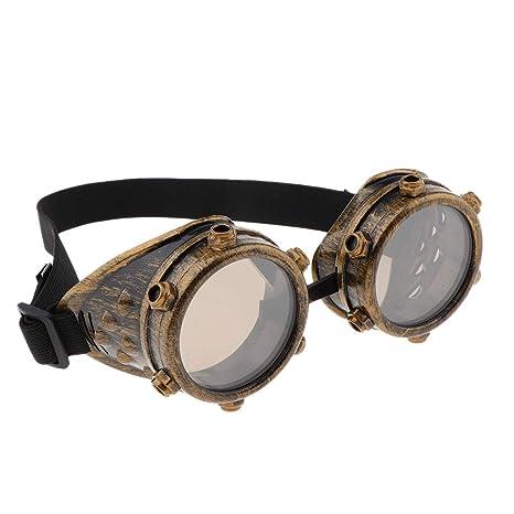Baoblaze Gafas Cibernéticas Steampunk Vintage con Banda Elástica para Mujer Hombre - Oro Antiguo