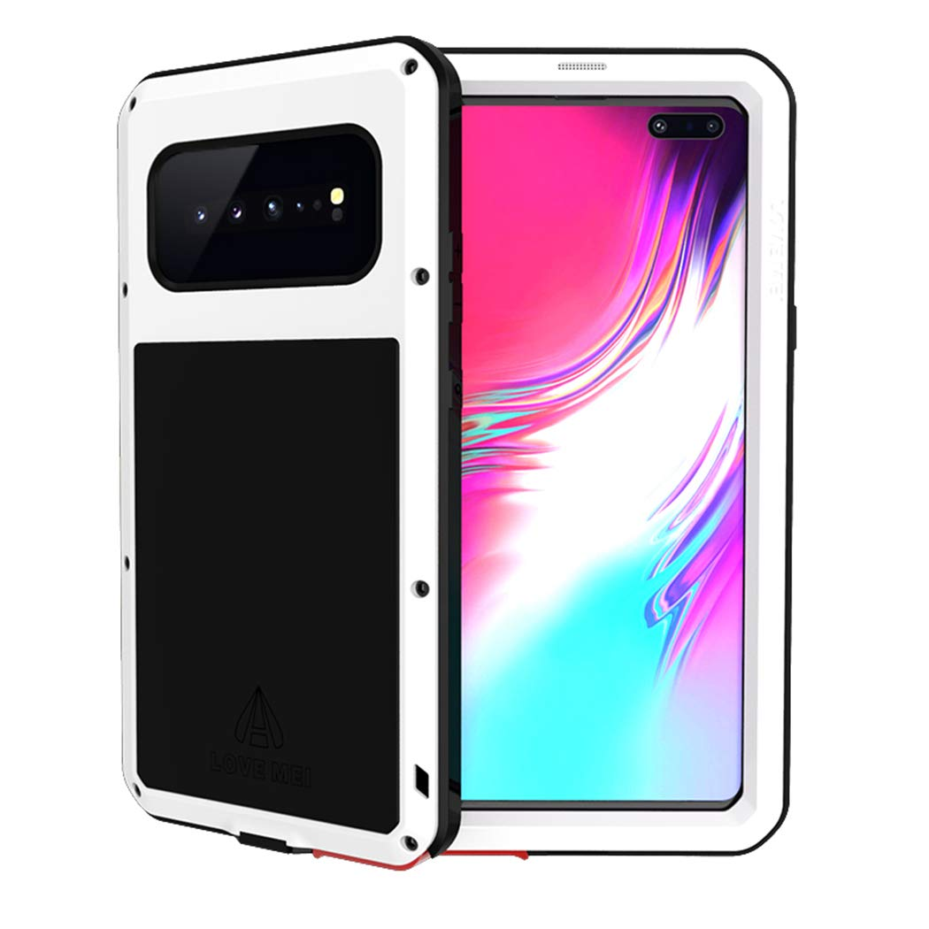 Galaxy S10 Plus Waterproof Case, Hwota Shockproof Waterproof Dust/Dirt/Snow Proof Aluminum Metal Case Heavy Duty Protection Case Cover for Samsung Galaxy S10 Plus (White) by Hwota