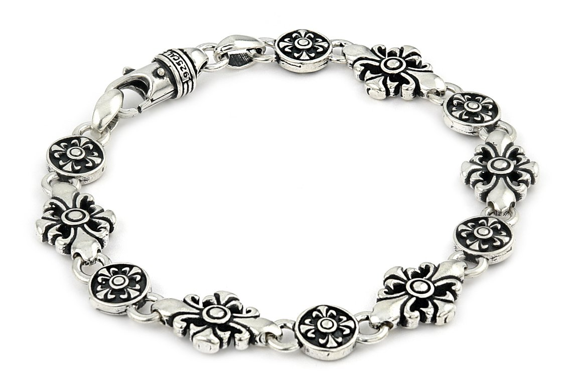 Twisted Blade 925 Sterling Silver Large Fleur De Lis Cross Link Bracelet 8''