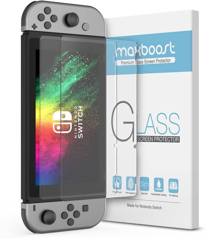 [Upgraded] Nintendo Switch Tempered Glass Screen Protector, Maxboost Glass Screen Protector for Nintendo Switch, HD Ultra-Thin Enhanced Tempered Glass (2 Pack)