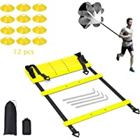 POFUN Pro Speed Agility Training Set - Indoor Outdoor Adjustable Rungs Agility Ladder, Resistance Parachute, 4 Steel Stakes, 12 Disc Cones - Kit for Soccer,Hockey, Basketball Drill,Lacrosse
