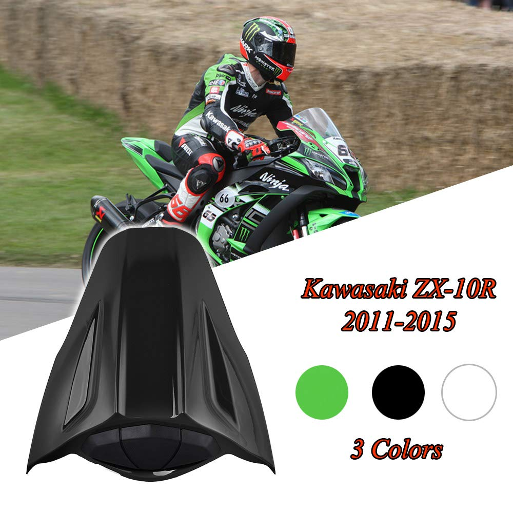 FATExpress Motorcycle Aftermarket Plastic Rear Passenger Pillion Solo Seat Cowl Hard ABS Motor Fairing Tail Cover for 2010-2015 Kawasaki Ninja ZX10R ZX-10R ZX 10R 2011 2012 2013 2014 10-15 (White)