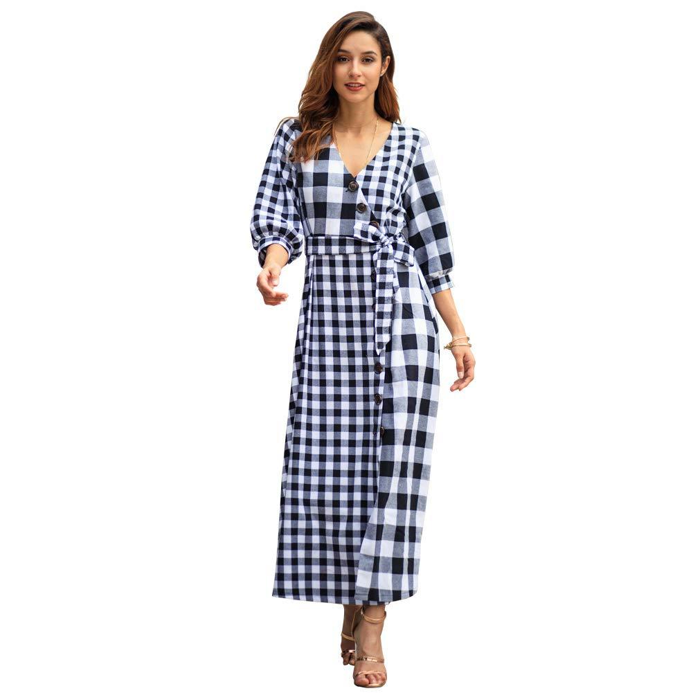 MEMIND 2019 Vintage Dress Europe and America Early Spring Women's Clothing Lattice Long Skirt Red Gray Slim Fit Female Women Long Sleeve Skirt,Gray,XL