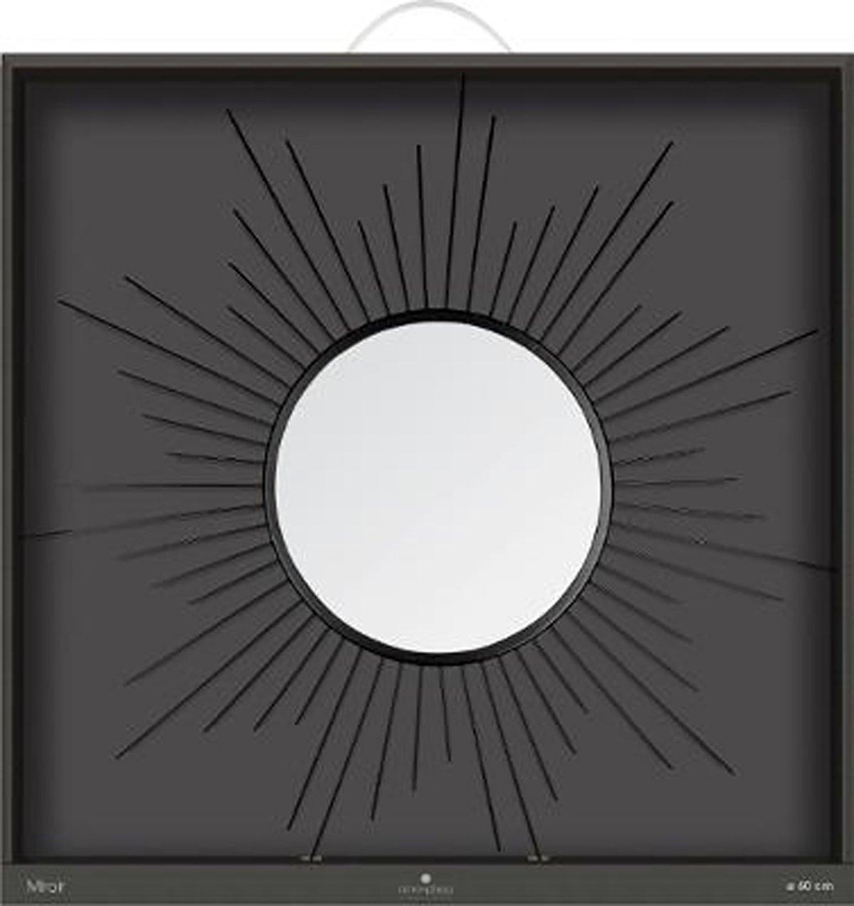 Dim Coloris Noir PEGANE Miroir en m/étal Forme Soleil L60 x l 1,5 x H60 cm