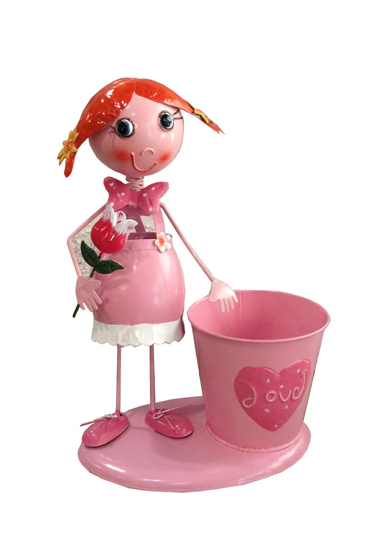 H 30 cm happyDko Personnage Cache-Pot La Fillette Bonbon Rose