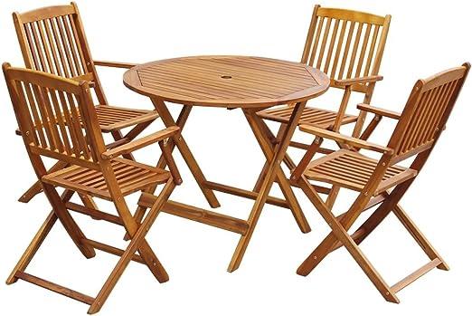 Festnight 5 pcs Salon de Jardin en Bois d\'acacia Pliable 1 Table Rond + 4  Chaise